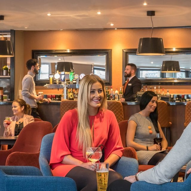 Guests enjoying drinks at the Red Bean Roastery in Clayton Hotel Belfast