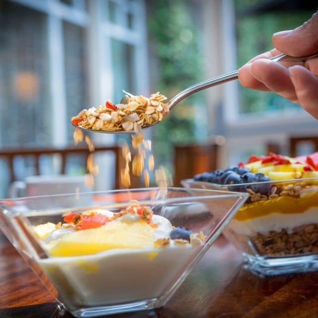 Yogurt with granola for breakfast at Clayton Hotel belfast